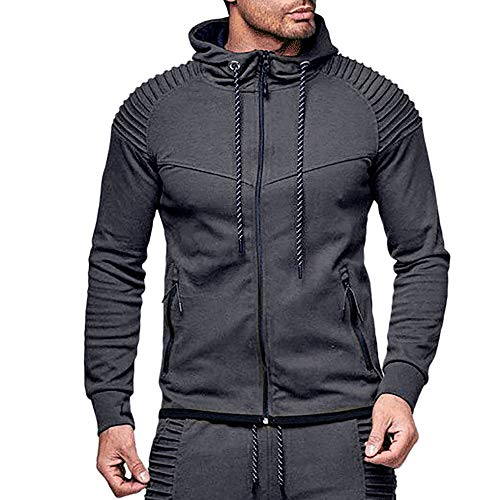 CMrtew ❤️Men's Autumn Solid Color Sweatshirt,Long Sleeve O-Neck Hoodie Top Outwear Blouse (Dark Gray, L)