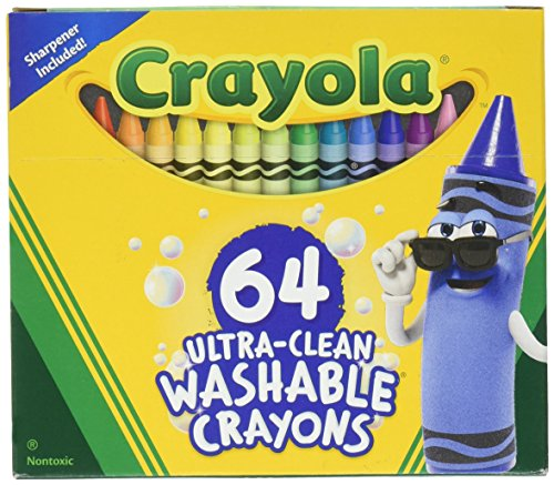 Crayola 52-3287 Ultra Clean Washable Crayons, 64 Classic Colors with Built in Sharpener Assorted, Standard (64 Pack Of Crayons In Color Order)