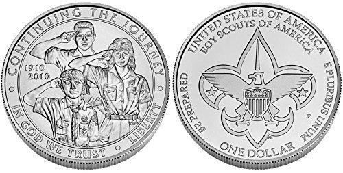 "2010 P Boy Scouts of America Centennial"" Commemorative Uncirculated Silver Dollar OGP (BY2) Dollar Uncirculated US Mint"