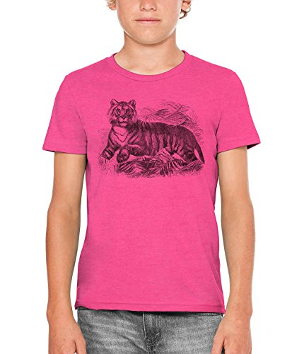 Austin Ink Apparel Spooked Striped Tiger Unisex Kids Vintage Printed T-Shirt (Berry Pink, M) by Austin Ink Apparel