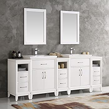 Fresca Cambridge White 84 Inch Double Sink Traditional Bathroom Vanity With  Mirrors