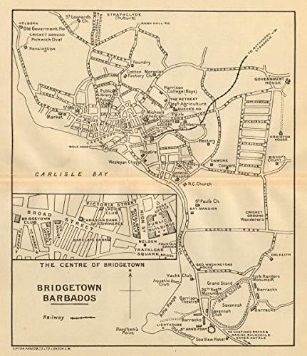 Bridgetown. Vintage Town map. Barbados. West Indies. Caribbean - 1935 - Old map - Antique map - Vintage map - Printed maps of Caribbean