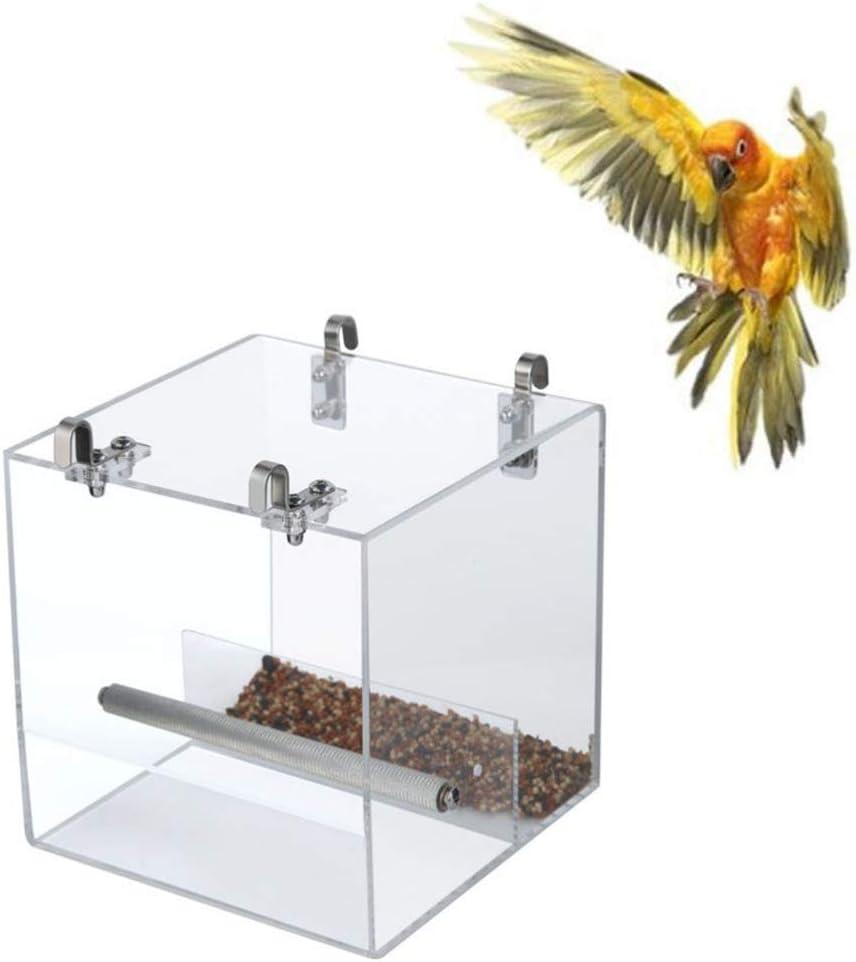 POPETPOP Comedero para Pájaros sin Desorden para La Jaula con Ganchos: El Alimentador de Mascotas del Corral de Semillas Mantiene Limpio El Jaula para El Pinzón de Periquito Cacatúa Canaria