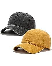 Voilipex Gorra de béisbol de algodón, 2 piezas, ajustable, para mujeres y hombres, vintage, de perfil bajo, no estructurado, sombrero de béisbol para papá