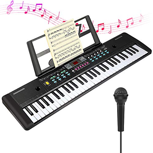 CHUYANG Electric Keyboard Piano 61-Key with Microphone & Music Stand Portable Electronic Kids Piano Keyboard ,USB Port & Teaching Modes for Beginners