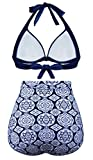 Aixy Women Retro Vintage Swimsuits Halter Bikini Top High Waisted Bottom,Navy,XL Variant Image
