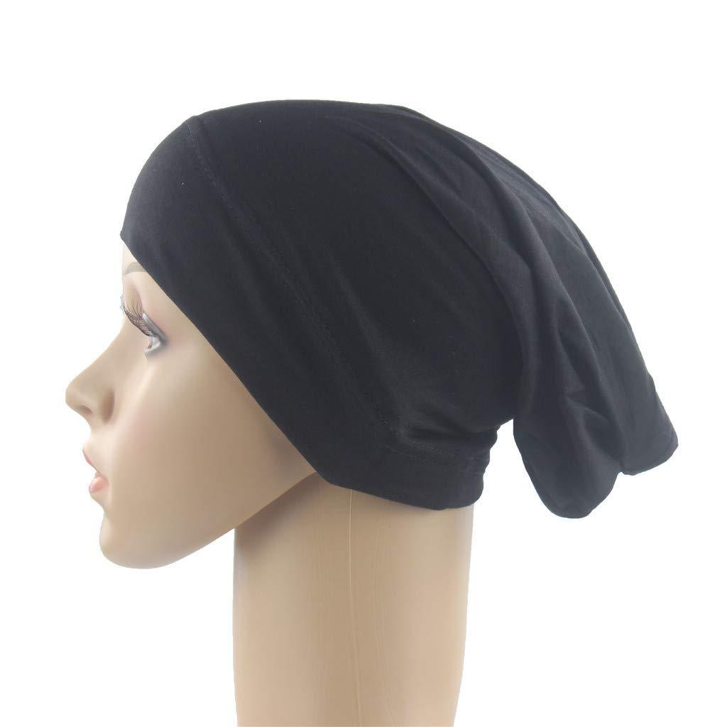 Funnygals Womens Muslim Islamic Solid Color Cotton Stretch Hijab Cap Head Under Scarf Shawl Turban Black