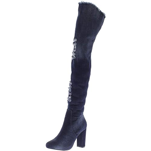 34f9f01e6f ChaussMoi Guarda Blu Stivali Waders per Jeans 10,5 cm Tacco Spesso ...