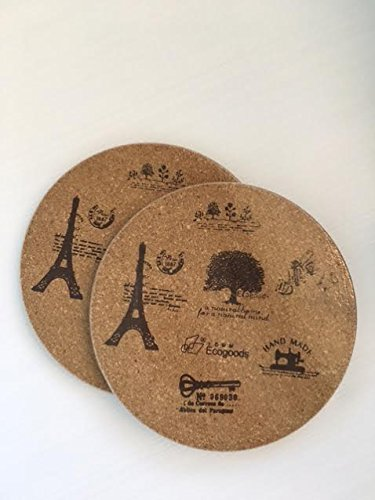Pack of 2 Round Cork Trivet Kit for kitchen Set pads heat hot pot - 7.5 inches, ecogood pattern.