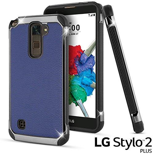 LG Stylus 2 Plus Case, LG Stylo 2 Plus Case, Celljoy [Deluxe Shock Armor] Slim Fit Dual Layer Protective ((Shockproof)) Hybrid Bumper [[Impact Resistant]] Premium Elegant - Thin Hard Cover (Blue) ()