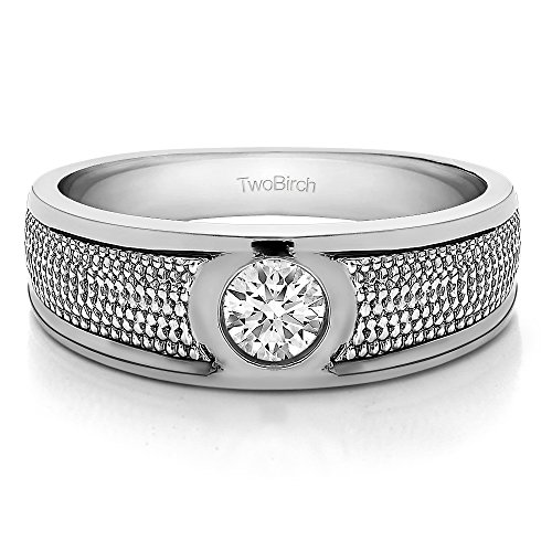 - 14k White Gold Gent's Ring White Sapphire(0.25Ct) Size 3 To 15 in 1/4 Size Intervals