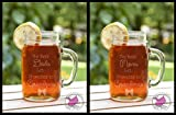 Set of TWO Best Moms Dads Get Promoted to Grandmas Grandpas Etched Glass Mason Jar Mugs with Handle Baby Announcement Tell Mom Dad Pregnant Announce Grandma Grandmother Gram Grammy Mom mom Girl Boy Due Twins Pregnancy Birth Mug