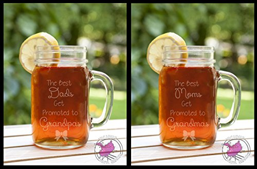 Set of TWO Best Moms Dads Get Promoted to Grandmas Grandpas Etched Glass Mason Jar Mugs with Handle Baby Announcement Tell Mom Dad Pregnant Announce Grandma Grandmother Gram Grammy Mom mom Girl Boy Due Twins Pregnancy Birth Mug (Twin Mug Set)