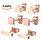 SPINEX 3 Pairs Stainless Steel Rose Gold Stud Earring Set Pierced (Rectangle, Square, Triangle)