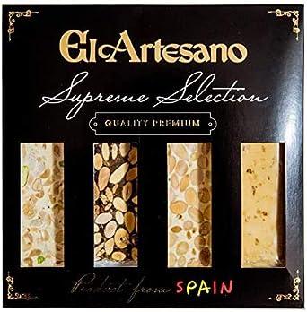 Pack de 4 Tabletas 70grs. El Artesano | Incluye: 1x Turrón de Jijona Artesano, 1x Turrón de Alicante Artesano, 1x Turrón de guirlache Artesano, 1x Turrón imperial de frutos secos: Amazon.es: Alimentación