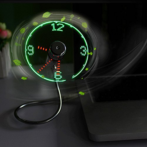GooDGo USB Fan 15.9 inch Mini Fan with LED Clock Light Display Time Gooseneck for Laptop, Power Bank, USB Adapter by GooDGo (Image #3)