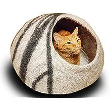 Meowfia Premium Felt Cat Bed Cave (Medium) - Handmade 100% Merino Wool Bed - Perfect Gift For Cats and Kittens (Light Grey/Medium)