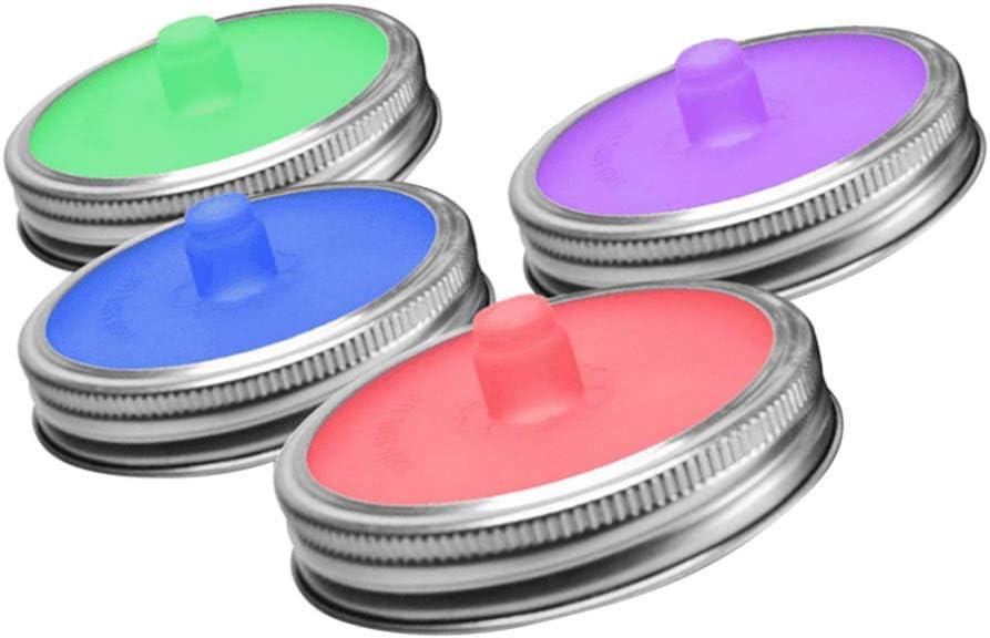 4 tappi in silicone per la fermentazione a bocca larga Hemoton colore casuale con anello in acciaio per la casa e la cucina