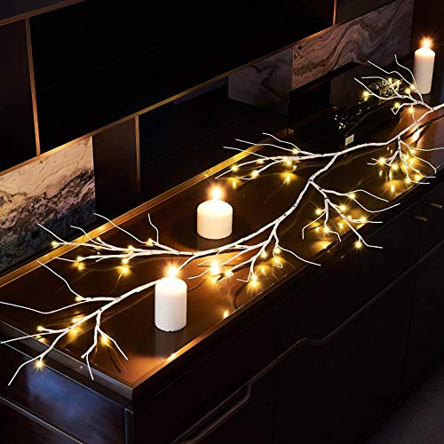 Hairui Winter Birch Garland with Lights 6FT 48 LED Battery Operated with Timer for Christmas Home Decoration Indoor Outdoor Use String Lights Wire Invisible 2019 New