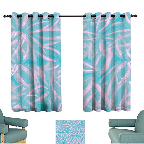Privacy curtain Pastel floral pattern pink blue leaves watercolor Hand paint foliage Exotic colorful strappy plants cordyline artistic collage Tropical plant wallpaper all over Suitable for Bedroom L (Laurel Privacy Door)
