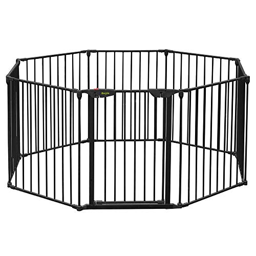 Bonnlo 197-Inch Wide Metal Configurable Baby Safety Gate 8 Panel Adjustable Play Yard Metal Fireplace Fence Christmas Tree Gate for Pet/Child/Toddler/Dog/Cat