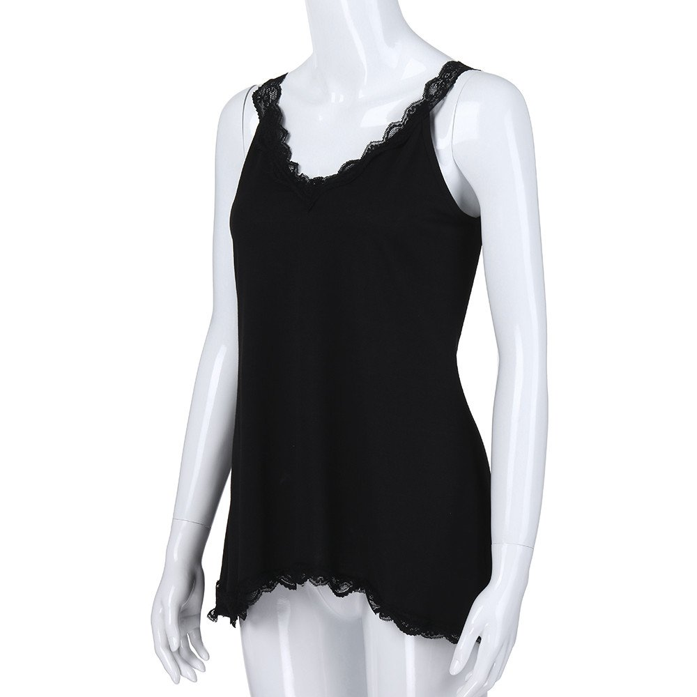 61913a3ea2c8 Yucode Womens Fashion V-Neck Cotton Lace Sexy Solid Vest Camisole Hollow  Out Backless Sleeveless Hem T-Shirt Camis Tank Tops at Amazon Women's  Clothing ...