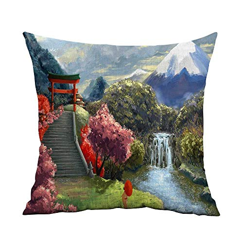 Estivation Decorative Hidden Zipper Cotton and Polyester Geisha Art Umbrella Cherry Stairs Asia Landscape Gates Wallpaper HD W23.8 x L23.8,Orange Throw Pillows for Couch