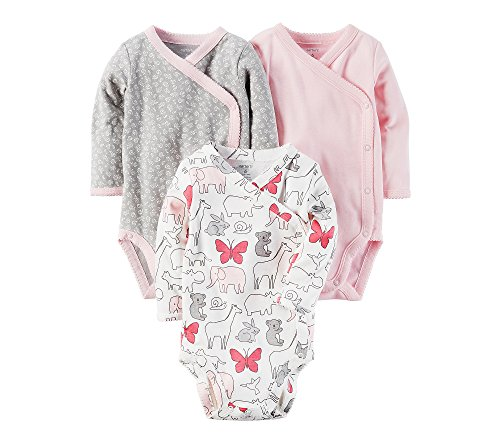 Carter's Baby Girls' 3-Pack Side Snap Bodysuits Newborn