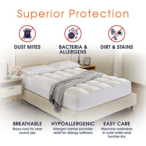 Cheer Collection Super Luxurious Ultra Soft Overfilled Microplush Fitted Mattress Topper - Twin