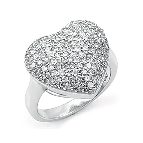 - Sterling Silver Fancy Micro Pave Round Cz Heart Ring with Ring Width of 15MM