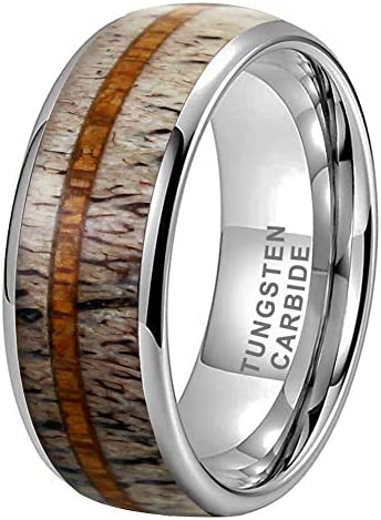 iTungsten 6mm 8mm Silver//Black//Yellow Gold//Rose Gold Tungsten Rings for Men Women Wedding Bands Koa Wood Deer Antler Arrow Inlay Domed Polished Shiny Comfort Fit