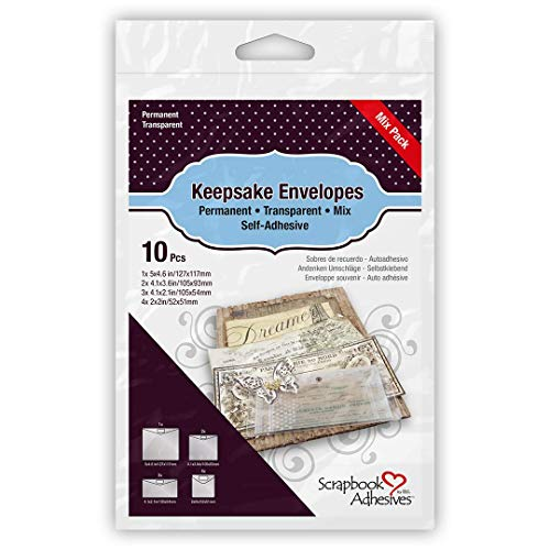3L Scrapbook Adhesives Keepsake Envelopes, Mixed 10pk, Clear