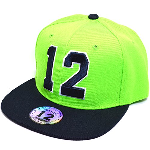 AblessYo Seattle 12 Embroidered Snapback Bill Twill Cap Basketball Baseball Fan Hat (Lime/Navy)