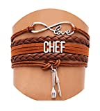 Best Wing Jewelry Chef Cord Braid Synthetic-Leather Warp Friendship Bracelets (Adjustable) (Brown)
