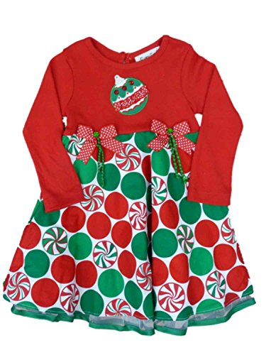 Rare Too! Infant & Toddler Girls Red Candy Ornaments Holiday Christmas Dress 24m]()