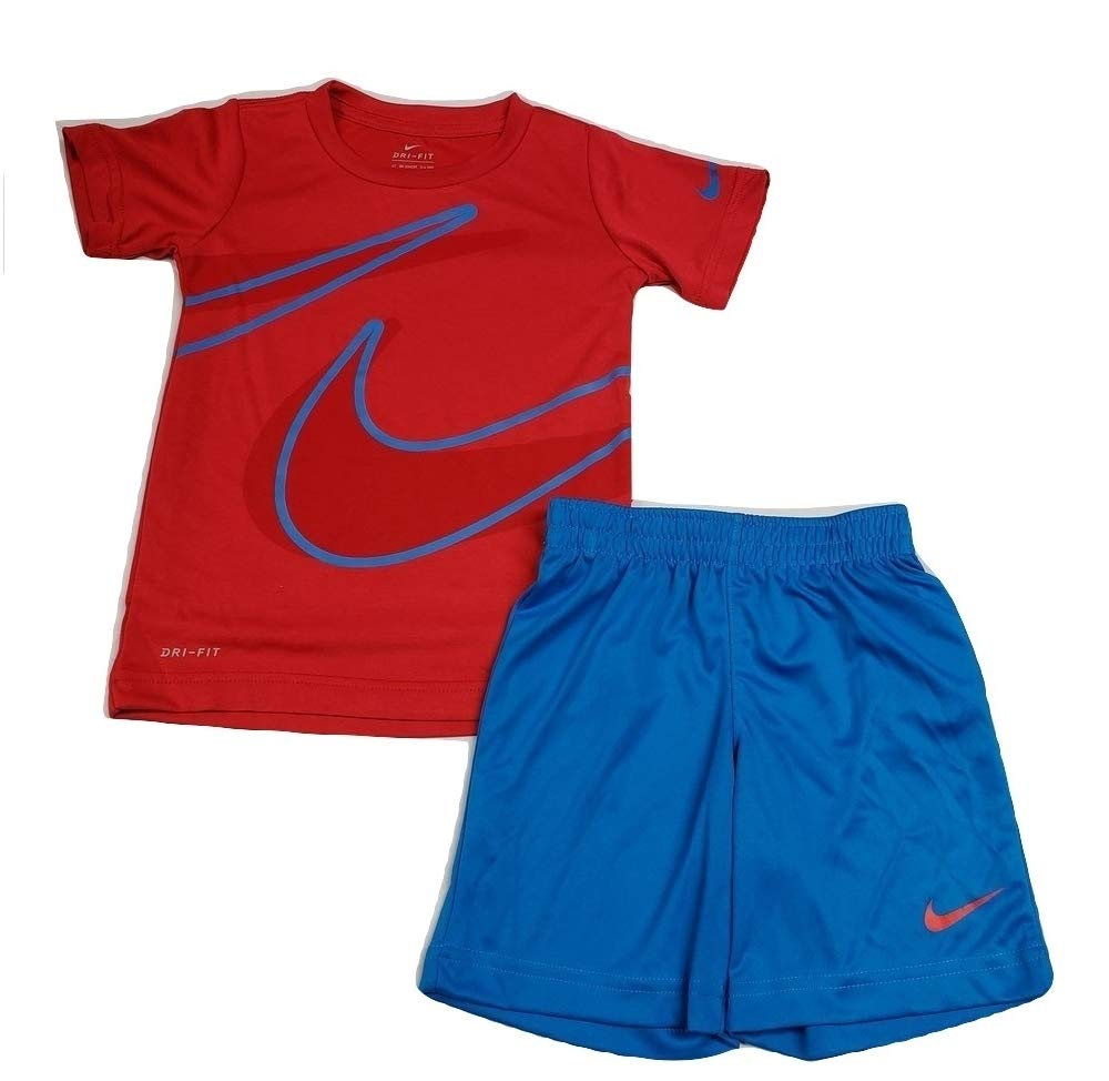 Nike Toddler Boys Dri Fit Short Sleeve T-Shirt and Short 2 Piece Set (Photo Blue (76E526-BE1)/Red, 4T)