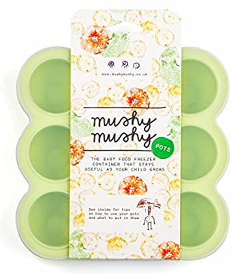 Mushy Mushy Baby Food Storage, 9 Easy To Remove Pots, Durable Silicone Freezer Trays with Recipe eBook, Great Container For Weaning by Mushy Mushy that we recomend personally.