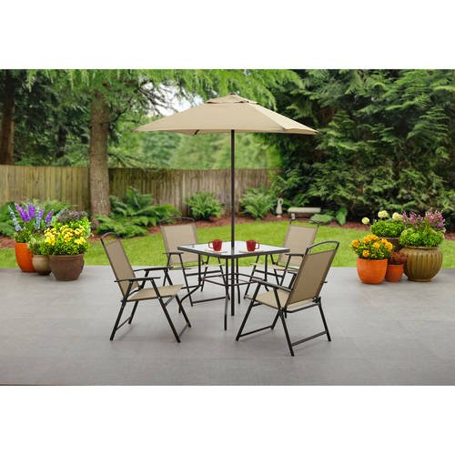 Mainstays Albany Lane 6-Piece Folding Seating Set: Tan - 6 Piece Seating