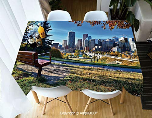 AngelDOU Fashion Durable Polyester Printed Tablecloth Park Bench Overlooking The Skyline of Calgary Alberta During Autumn Tranquil Urban for Kitchen Dining Room Outdoor Camping,W55xL70(inch) (Tables Calgary Room Dining)