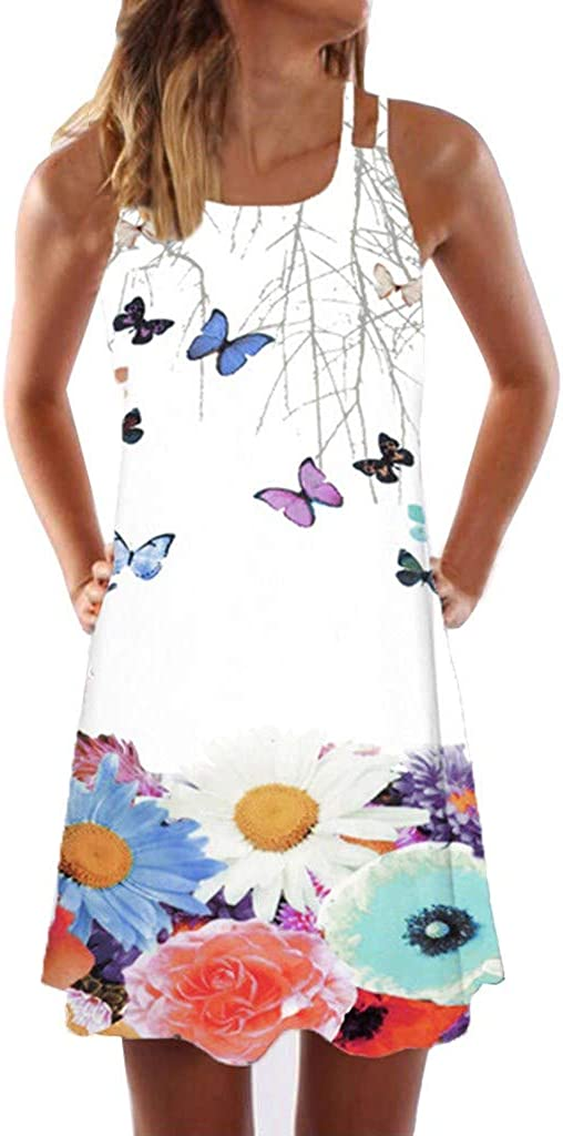 ODGear Dresses for Women Summer O-Neck Casual Sleeveless Boho Floral Print Short Mini Maxi Dresses Holiday Beach Party