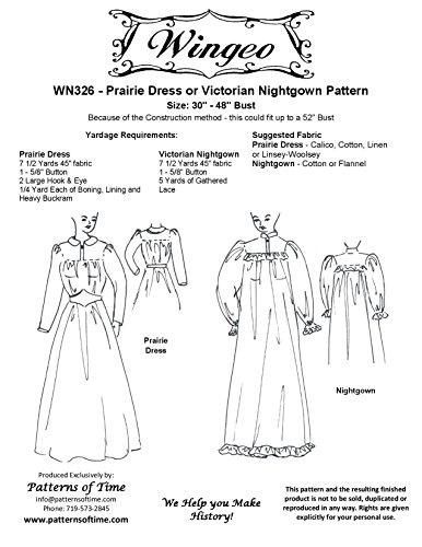 33971116bf Amazon.com  Prairie Dress or Victorian Nightgown Pattern
