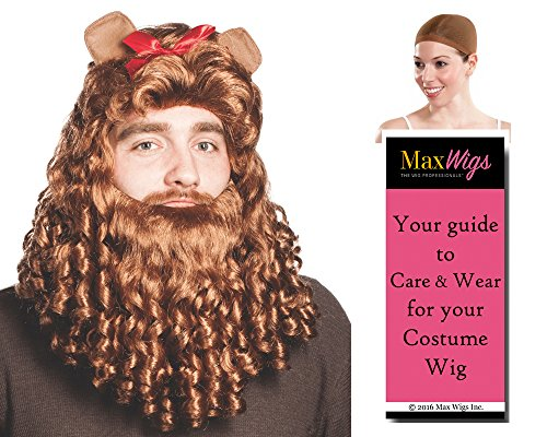Cowardly Lion Color Brown - Enigma Wigs Curly Men's Wizard Oz Courage Bow Ears Bundle with Wig Cap, MaxWigs Costume Wig Care Guide (Wizard Of Oz Lion Wig)