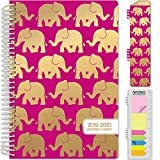 HARDCOVER Academic Planner 2019-2020: (June 2019 Through July 2020) 5.5'x8' Daily Weekly Monthly Planner Yearly Agenda. Bonus Bookmark, Pocket Folder and Sticky Note Set (Elephants)