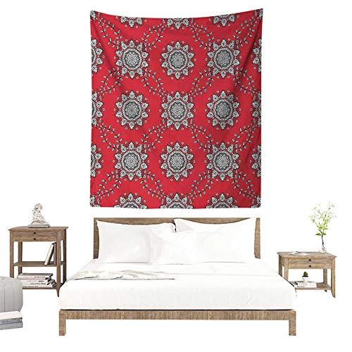 (Red Mandala Tapestry for Living Room Sketchy Leaves Swirl Ivy Victorian Mesh Design Inspired Image Home Decorations for Bedroom Dorm Decor 54W x 72L INCH Vermilion Grey Black White)