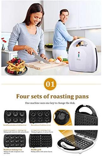 N / A Gaufres à Sandwich 4 en 1, Grille-Pain à Machine à Petit-déjeuner, ustensiles de Cuisson Amovibles à revêtement antiadhésif, Beignets, Muffins, gâteaux