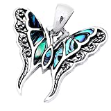 Created Gemstone Filigree Butterfly .925 Sterling Silver Pendant Necklace - Selection Of Colors