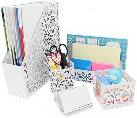 Geniric 5-in-1 Schreibtisch-Set bestehend aus Ordner-Halter, Briefsortierer, Stifthalter, Visitenkarten- und Notizblockhalter weiß