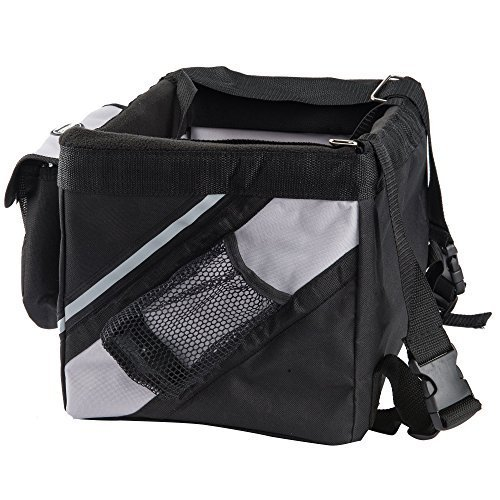 Pettom Dog Baskets Pet Carrier for Bicycle with Mesh Side Pockets Waterproof & Washable Travel Bike Carrier for Small Dogs & Cats