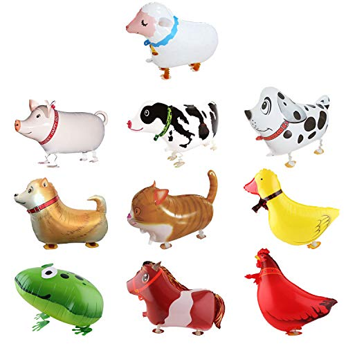 SOTOGO 10 Pieces Walking Animal Balloons Farm Animal Balloon Birthday Party BBQ Party Décor(Pony,Duck,Rooster,Cow,Pig,Sheep,Spotted Dog,Sheepdog,Frog,Cat)]()