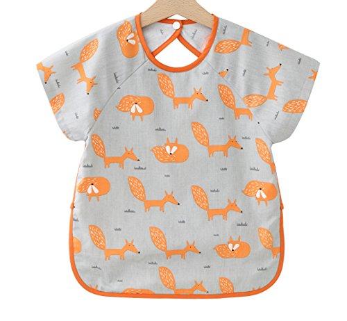 F&C Toddler Baby Short sleeve Waterproof Sleeved Bib (Orange Fox, 2T(80-90CM))
